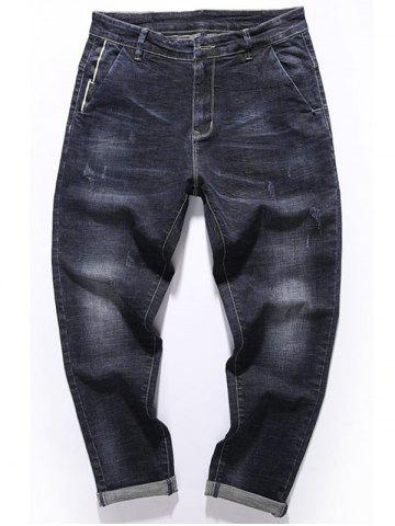 Fancy Tapered Fit Zip Fly Pockets Jeans