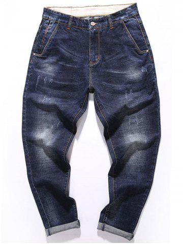 Trendy Tapered Fit Whisker Design Zip Fly Jeans