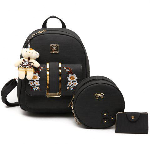 Discount Flower Embroidery 3 Pieces Backpack Set