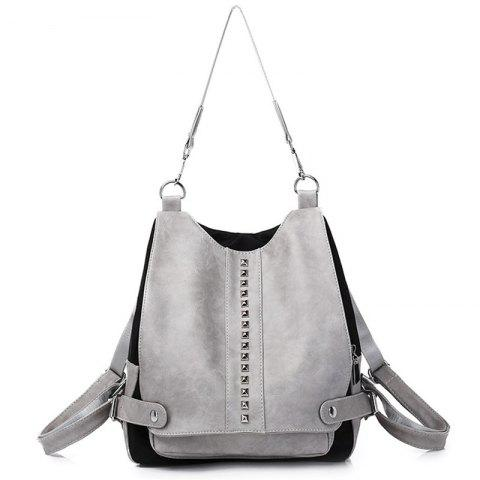 Chic Faux Leather Rivets Multi Function Backpack