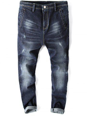 Sale Whisker Design Zip Fly Tapered Fit Jeans