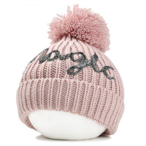 Shops Letter Pattern Embellished Fuzzy Ball Knitted Beanie