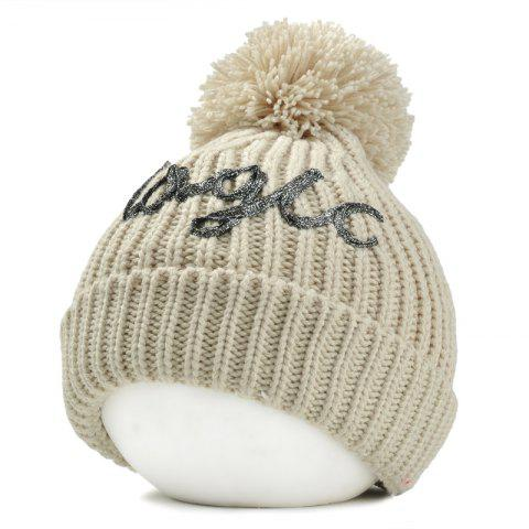 Fashion Letter Pattern Embellished Fuzzy Ball Knitted Beanie