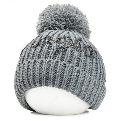 Outfit Letter Pattern Embellished Fuzzy Ball Knitted Beanie