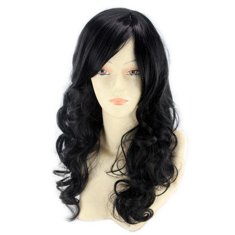 Affordable Long Inclined Bang Wavy Human Hair Wig