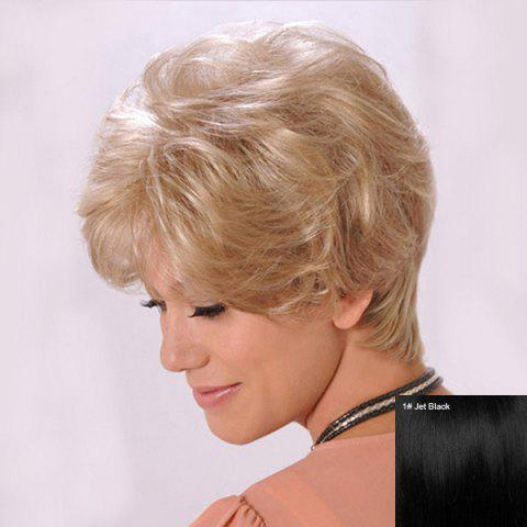 Affordable Short Side Bang Fluffy Slightly Curly Human Hair Wig