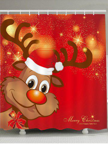 Fashion Christmas Elk Pattern Waterproof Shower Curtain