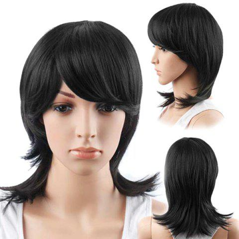 Hot Medium Oblique Bang Straight Human Hair Wig