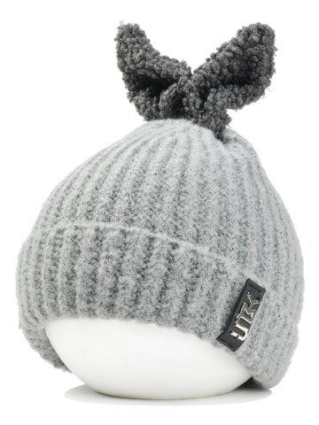 Outfit Outdoor Rabbit Ear Embellished Flanging Knitted Beanie