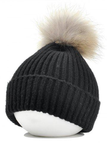 Shops Vintage Fuzzy Ball Embellished Flanging Lightweight Beanie