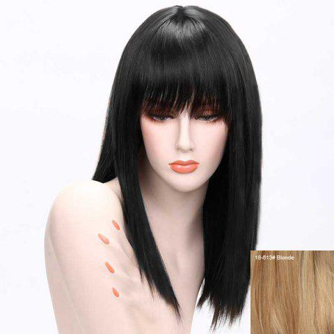 Sale Long Neat Bang Straight Human Hair Wig