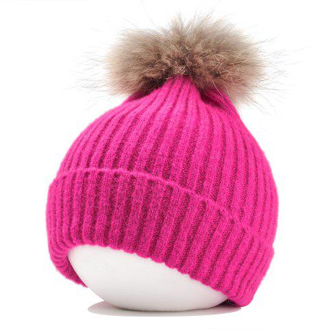 Trendy Vintage Fuzzy Ball Embellished Flanging Lightweight Beanie