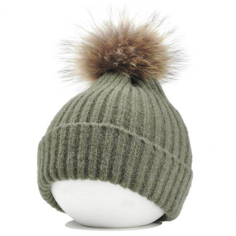 New Vintage Fuzzy Ball Embellished Flanging Lightweight Beanie