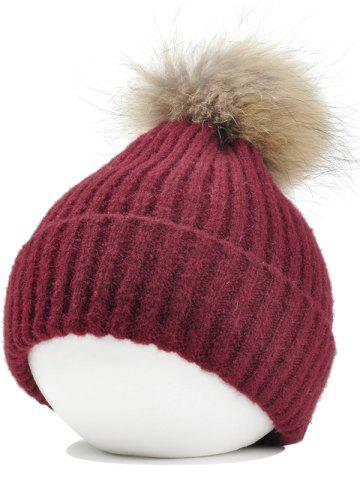 Store Vintage Fuzzy Ball Embellished Flanging Lightweight Beanie