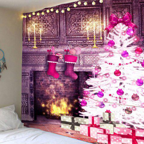Hot Christmas Fireplace And Tree Patterned Wall Art Tapestry
