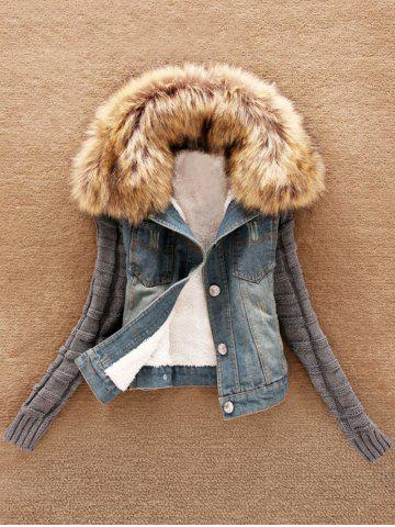 Shop Knit Sleeve Faux Fur Collar Denim Jacket