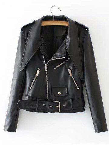 Fancy Zipper Embellished Biker Jacket with Belt