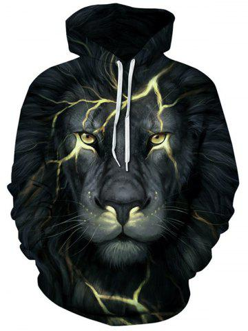 Outfits 3D Lion Face Print Kangaroo Pocket Hoodie