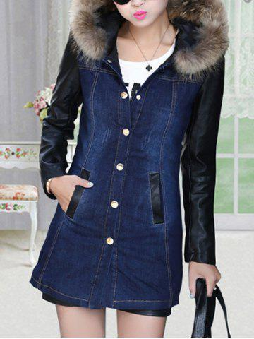 Trendy Faux Leather Sleeve Button Up Denim Coat