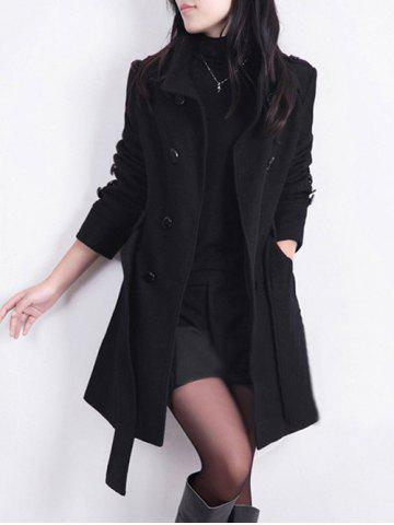 Fancy Double Breast Belted Trench Coat