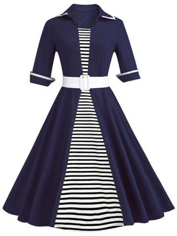 Affordable Shirt Collar Striped Panel A Line Dress
