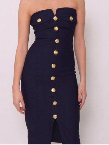 Buy Button Up Bodycon Strapless Dress
