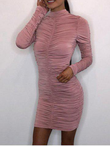Hot Mock Neck Bodycon Ruched Dress