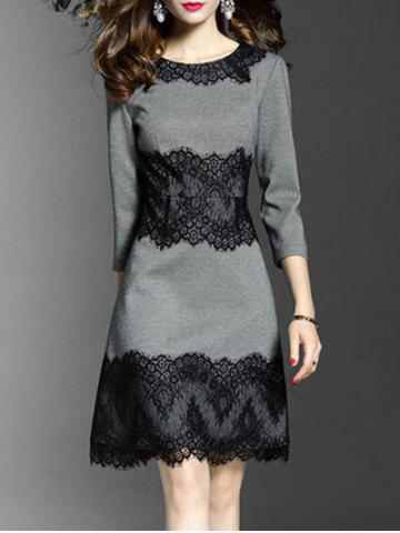 Affordable Round Neck Lace Panel A Line Dress