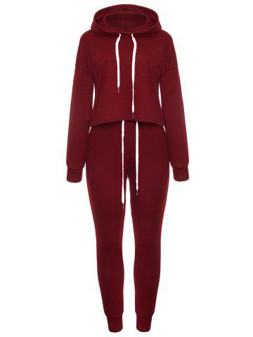Discount Long Sleeve Drawstring Pullover Hoodie Sweat Suit