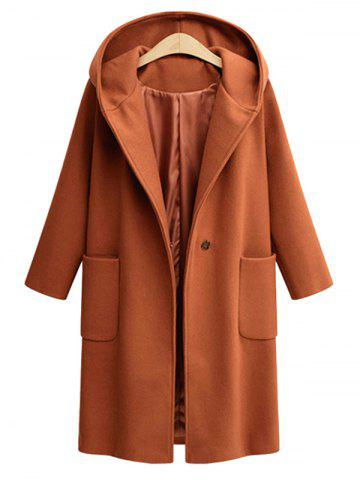 Shop Plus Size Front Pockets One Button Hooded Coat