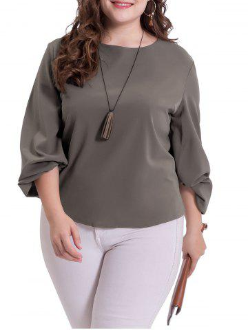 Shops Puff Sleeve Plus Size Casual Blouse