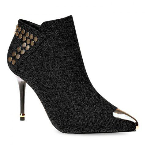 Stiletto Heel Metal Pointed Toe Ankle Boots