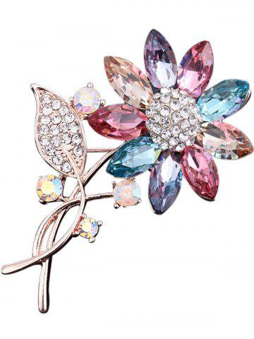 Trendy Faux Crystal Rhinestone Leaf Sunflower Brooch
