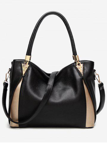 Sale Faux Leather Contrasting Color Shoulder Bag