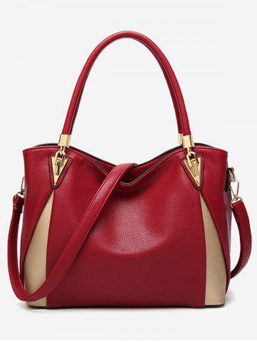 Chic Faux Leather Contrasting Color Shoulder Bag