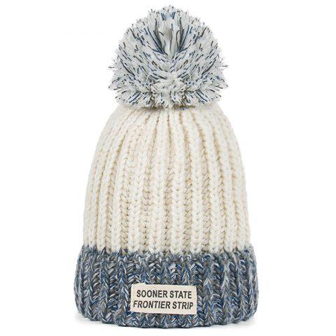 Shops Letter Label Embellished Flanging Knitted Pom Beanie