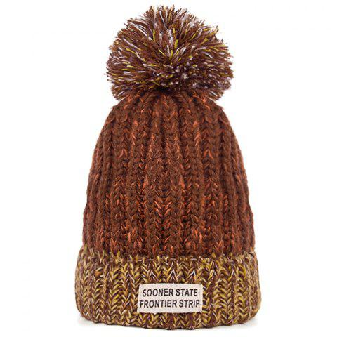 Cheap Letter Label Embellished Flanging Knitted Pom Beanie
