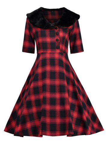 Discount Plaid Faux Fur Panel Vintage Dress