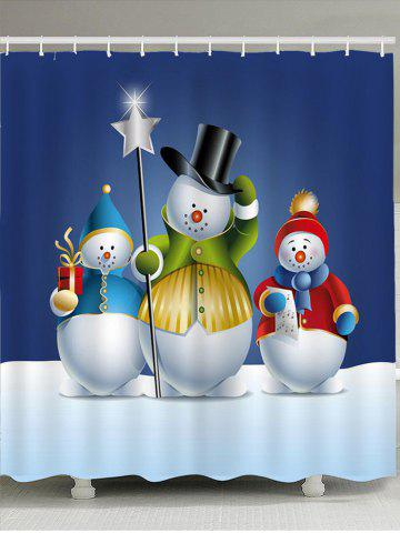 Online Waterproof Three Snowmen Printed Shower Curtain