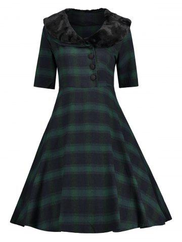 Chic Plaid Faux Fur Panel Vintage Dress