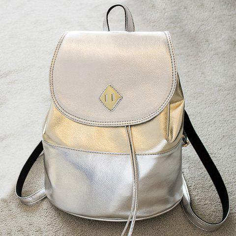 Shop PU Leather Contrasting Color Backpack With Handle