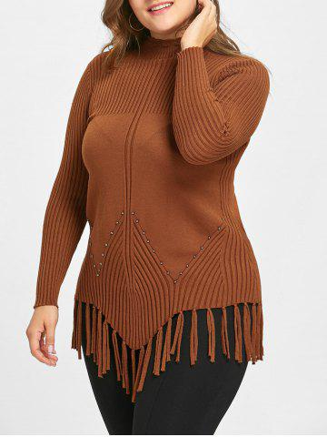 Cheap Plus Size Fringed Ribbed High Neck Sweater