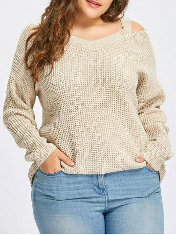 Trendy Plus Size High Low Cold Shoulder Sweater