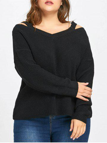 Fashion Plus Size High Low Cold Shoulder Sweater