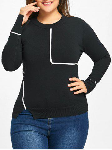 New Striped Slit Plus Size Sweater