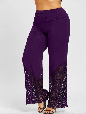 New Plus Size Lace Hem Palazzo Pants