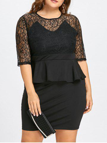Fashion Plus Size Lace Insert Peplum Bodycon Dress