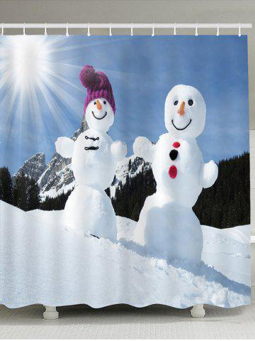 Latest Sunshine Snowmen Couple Pattern Shower Curtain
