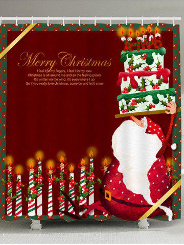 Fashion Santa Claus Cake And Candles Patterned Shower Curtain