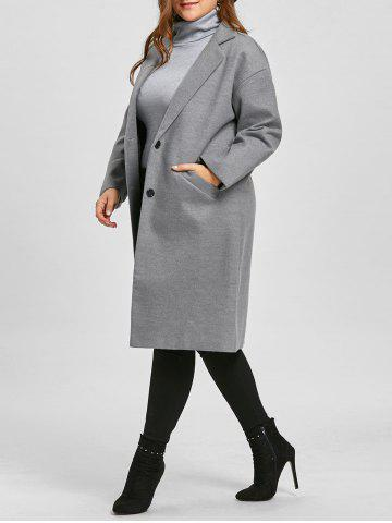Discount Long Plus Size Button Up Coat